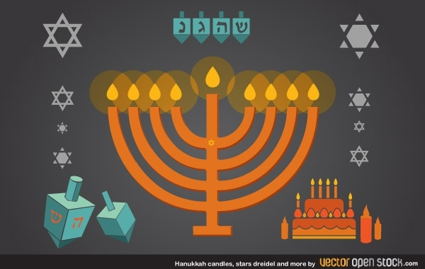 Free Hanukkah candles, stars, dreidel and more