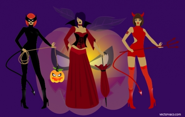 Free 3 Girls in Halloween Witch Costumes