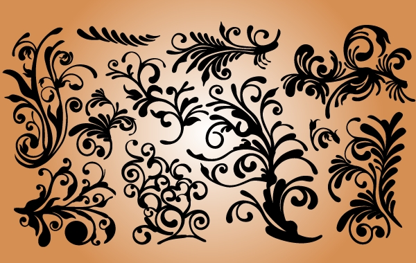 Free Soft Curved Floral Ornament Set