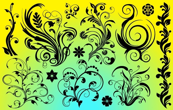 Free Vectors: Curly Flourish Ornaments Pack | vectorlady
