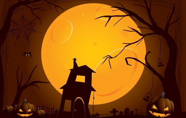 Free Creepy Halloween Night Illustration