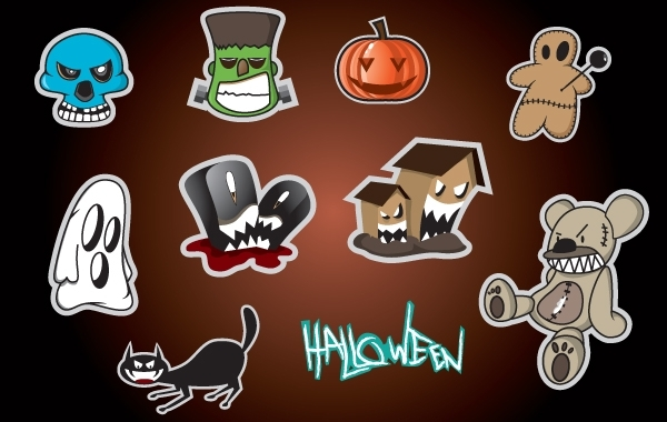 Free Sticker Set with Halloween Object