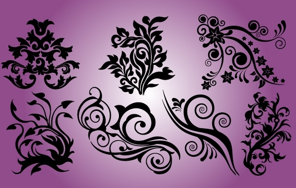 Free Smooth and Curved Floral Element Set