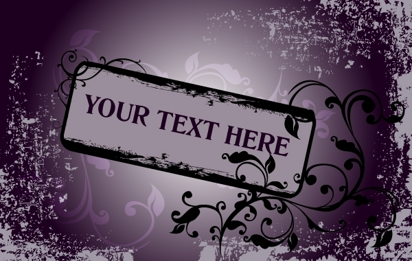 Free Grungy Purple Floral Frame Template