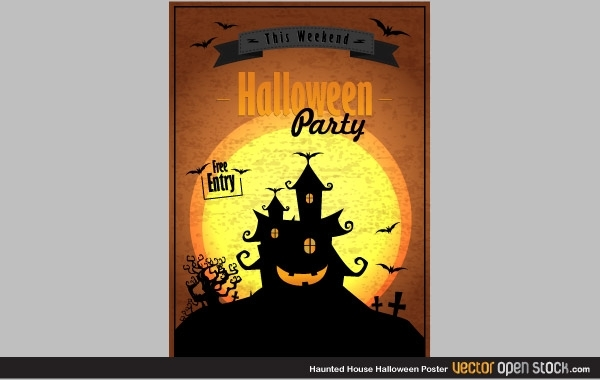 Free Haunted house Halloween poster