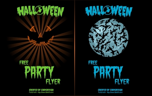 Free Pumpkin & Bat 2 Halloween Flyers