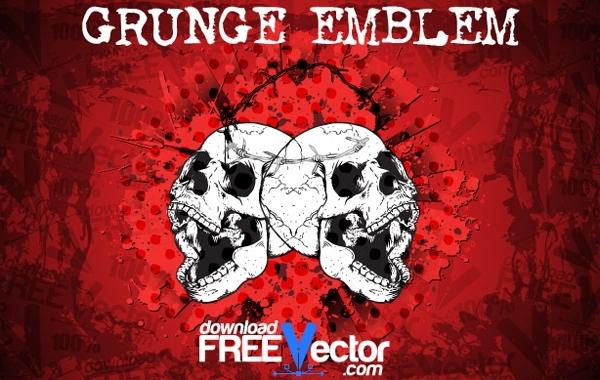 Free Grungy Skulls Halloween Emblem