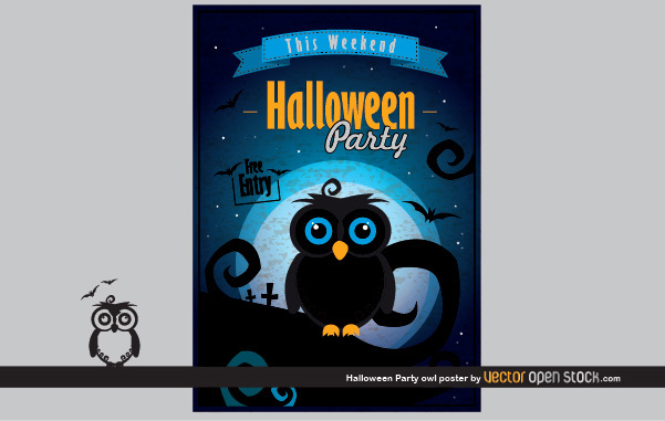 Free Halloween Party Owl Poster