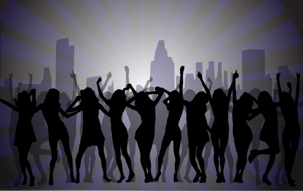 Free Vectors: Dancing Girls with City Background | vectorlady