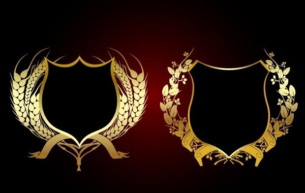 Free 2 Floral Decorative Heraldic Shields