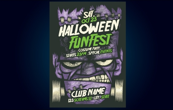 Free Frankenstein Halloween Flyer Template
