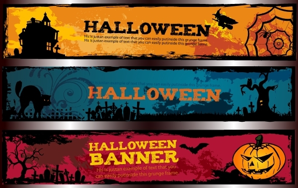 Free Template Halloween Banner Pack