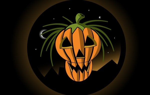 Free Halloween Pumpkin with Moonlight Sky