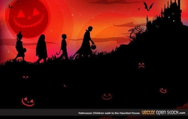 Free Halloween children walk to the Haunted house