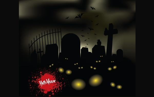 Free Vectors: Horror Halloween Theme Graveyard | OMGvectors