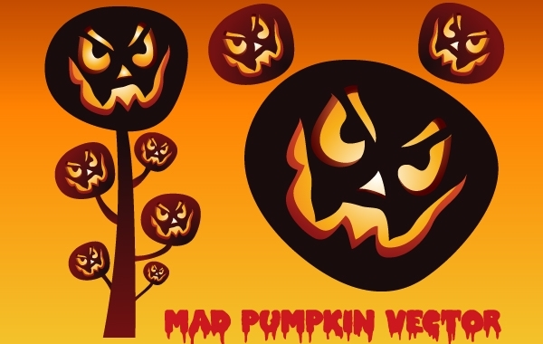 Free Scary Halloween Mad Pumpkin Set