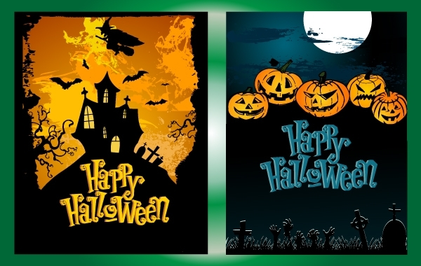 Free Vectors: Halloween Night Poster Pack | DownloadFreeVector