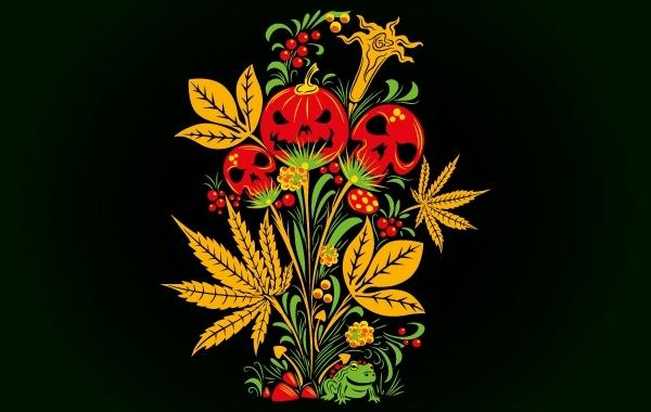 Free Psychedelic Khokhloma Halloween Stuffs