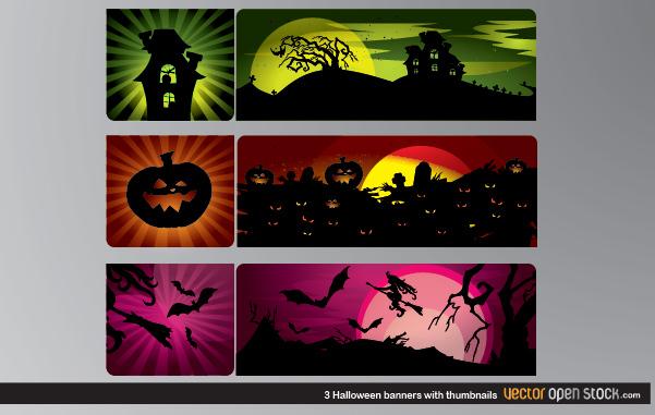 Free Vectors: 3 Halloween Banners with thumbnails | Vector Open Stock