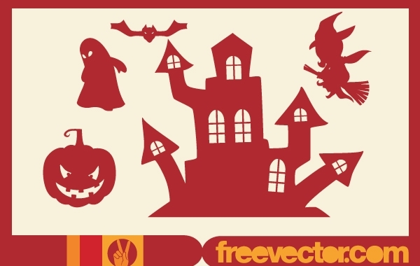 Free Halloween Stuffs Red Silhouette