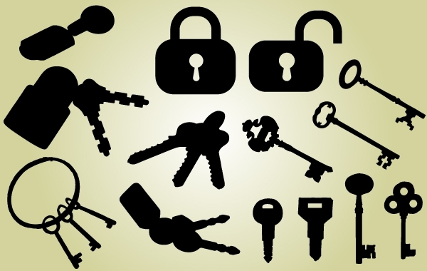 Free Lock and Key Pack Silhouette