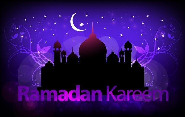 Free Purple Greeting Layout for Holy Ramadan