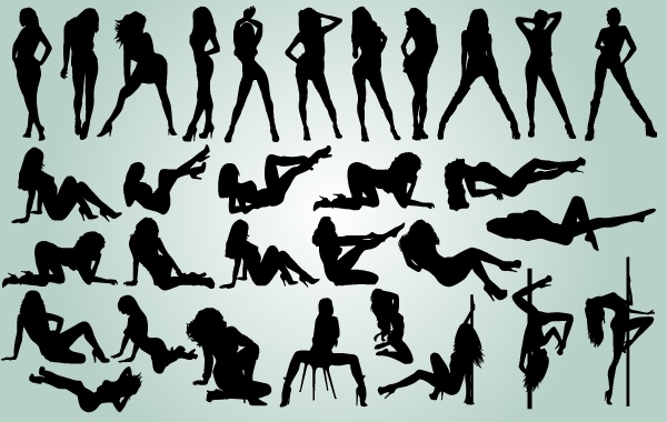 Free Girls Dancing Striptease Pack Silhouette