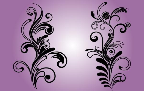 Free B&W Floral Decorative Ornaments