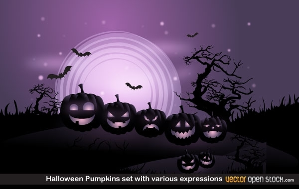 Free Halloween Pumpkins set with various expressions