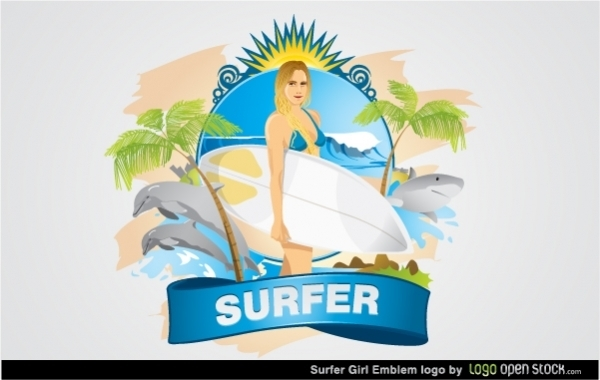 Free Surfer Girl emblem