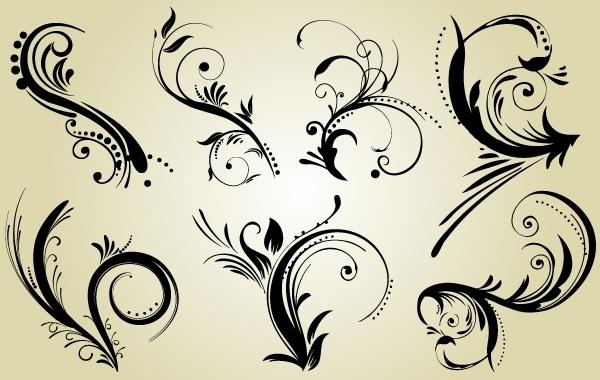 Free Swirly Black Ornaments Pack