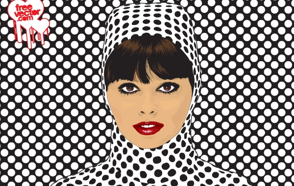 Free Vectors: Women Face with Dot Pattern Cloth | FreeVector