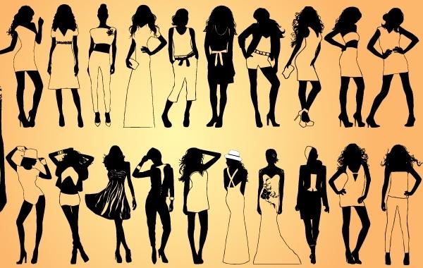 Free Vectors: Girls Model Pack Silhouette | DownloadFreeVector