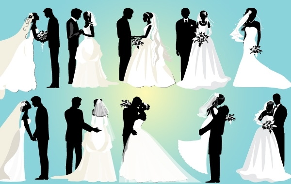 Free Vectors: Marriage Couple Black and White Pack | DownloadFreeVector