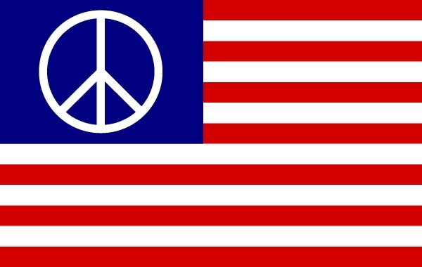 Free US Flag with Peace Symbol