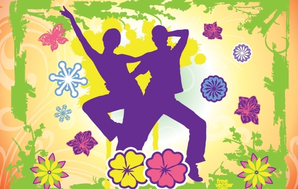 Free Happy Dancing Couple with Nature Frame