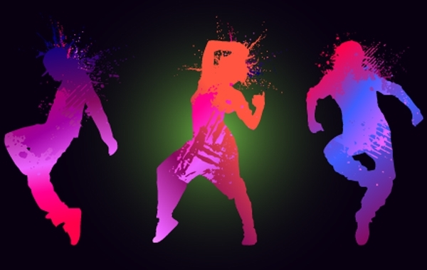 Free Vectors: Grungy Silhouette Dancing Peoples | vectorlady