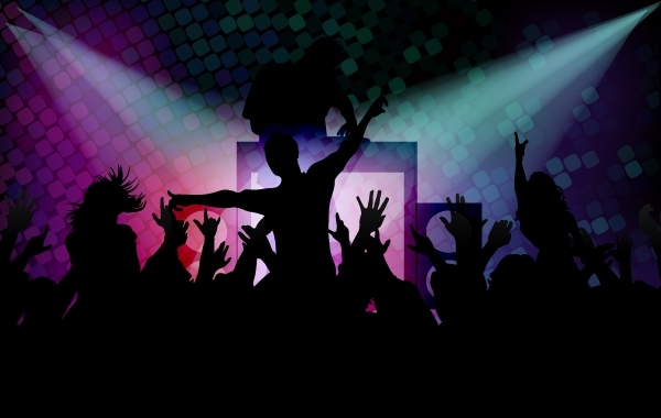 Free Disco Background with Happy Peoples