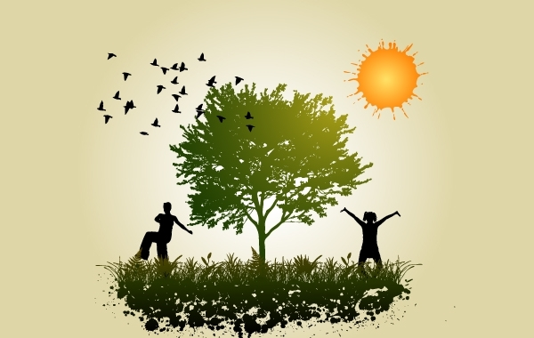 Free Vectors: Peoples in Peace with Nature | vectorlady