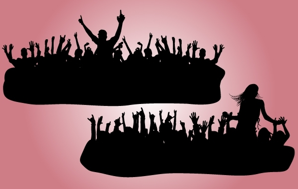 Free Vectors: Crowds Cheering Silhouette | vectorlady