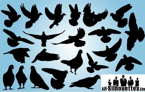 Free Vectors: Pigeon Pack Symbol of Peace | All-Silhouettes