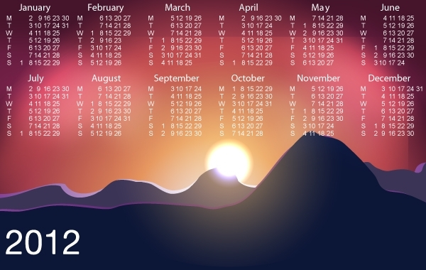 Free Beautiful Sunrise with Template Calendar