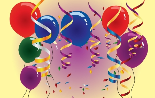 Free Vectors: Balloons and Streamers on Happy Moment | DesignCloud