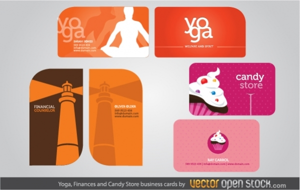 Free Yoga, Finances and Candy Store business cards