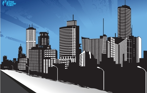 Free Vectors: City Beside a River and Street | FreeVector