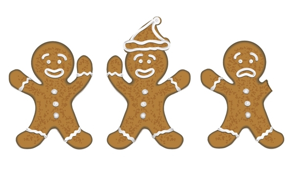 Free three gingerbread men for christmas cards / koekmannen voor kerstkaarten