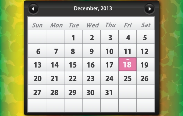 Free Glossy Calendar December, 2013