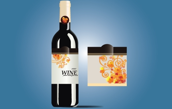 Free Glossy Wine Bottle with Label