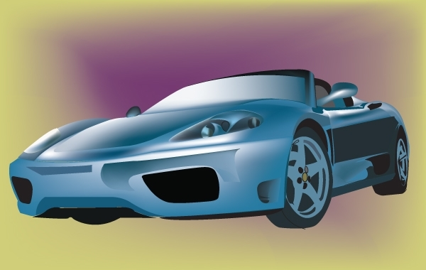 Free Vectors: Ferrari Blue Sports Car | batatx