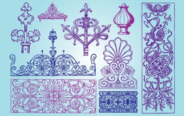 Free Vectors: Ornamental Antique Shape Pack | brushadobe